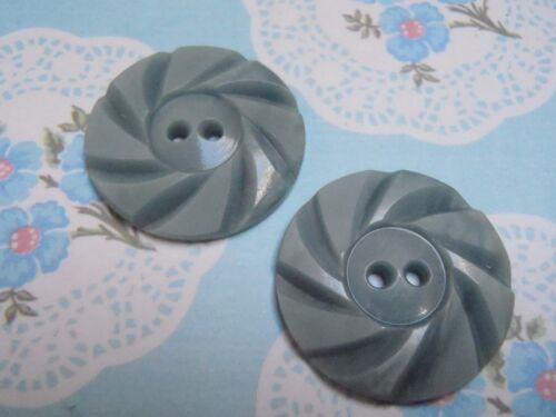 2 Vintage Blue Art Deco Casein Buttons 22 mm sew craft scrapbook jewelry knit