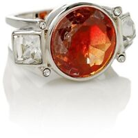 Henri Bendel Paint The Town Cocktail Ring Silvertone Size 5