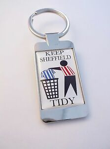 Sheff-United-Sheffield-Keep-Area-Tidy-Abzeichen-Schluesselring-Schluesselanhaenger