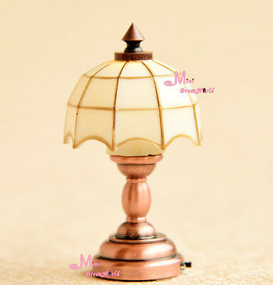 1/12 Dollhouse Miniature Self-control W/Battery Tiffany Table Lamp Light LE09