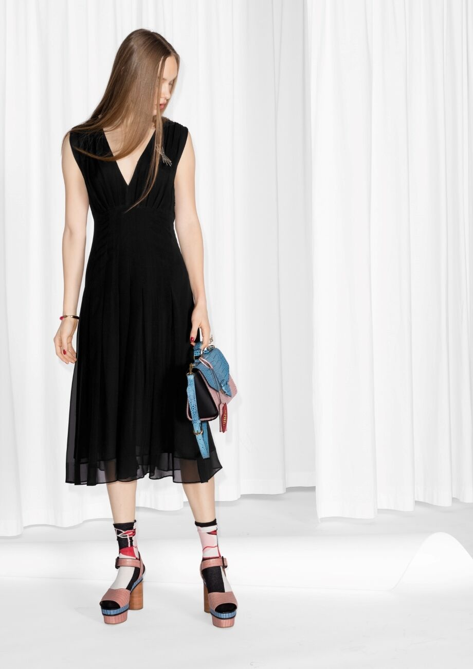 & altre storie 100% Mulberry Seta VIOLE Midi Dress 8 10 12 (GRUPPO) H&M nuovo con etichetta
