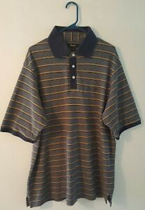 Pre-Owned-Men-s-Sean-John-Navy-amp-Yellow-Polo-Shirt-XXL