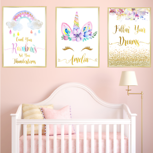 Unicorn Personalised Name Nursery Prints Set Baby Girl Bedroom Art 3 Pictures
