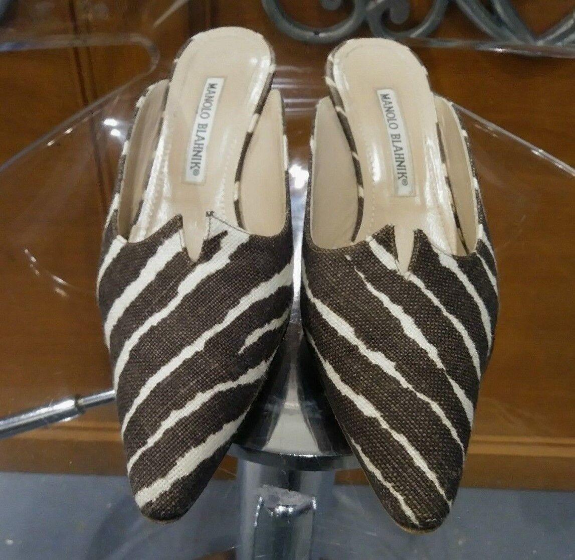 con il 100% di qualità e il 100% di servizio Manolo Blahnik Zebra Animal Print Marrone Ivory Fabric Mules Wooden Wooden Wooden Heel S 36 1 2  Offriamo vari marchi famosi