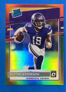 2020 Donruss #P-313 Justin Jefferson Optic Preview Red Green Prizm Rookie Card
