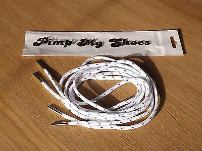 Premium Blanco y Plateado Fleck Cordones para calzado con plata puntas 120 Cm para entrenadores