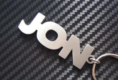 JON Personalised Name Keyring Keychain Key Fob Bespoke Stainless Steel Gift