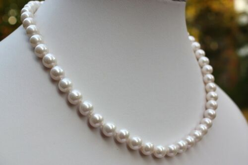 AA 45cm 8mm Luxus Süßwasser Perle Schmuck Perlenkette Echtschmuck Kette Collier