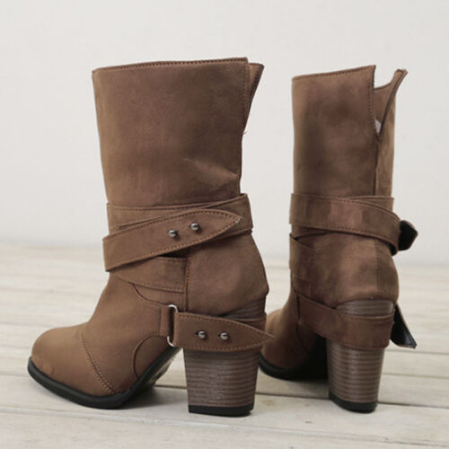 Women/'s Mid Calf Block Heel Ankle Boots Booties Buckle Chunky Casual Shoes UK