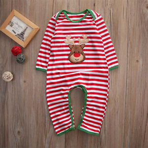ee4063ee58ed US Newborn Infant Baby Boy Girl Christmas Romper Bodysuit Pajama Clothes  Outfit