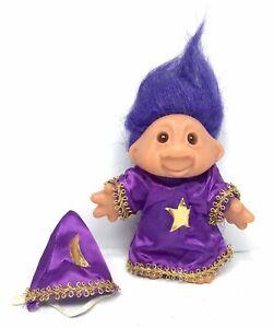 Vintage-1986-DAM-Troll-Doll-WIZARD-OF-THE-NORF-5-034-Purple-Hair-Merlin-60533