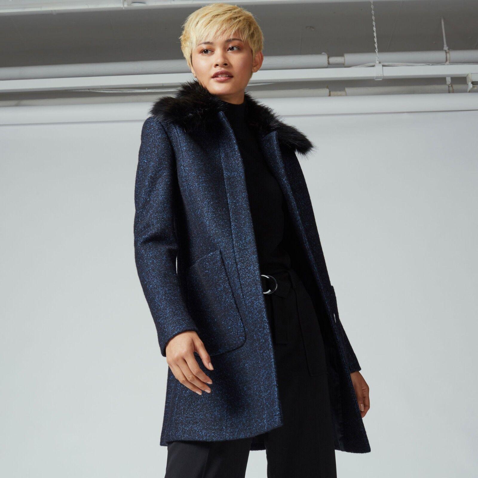 Warehouse Swing Faux Fur Collar Coat bluee Size LF180 BB 01