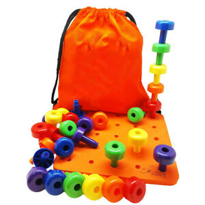 Montessori-Stacker-Pegs-Pegboard-Set-30Pcs-Sorting-Pegboard-Educational-Toys
