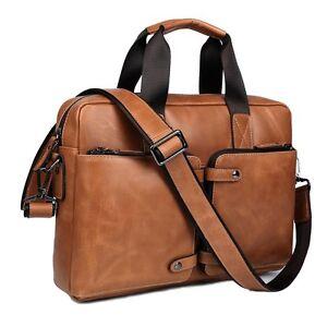 3d12850362 Image is loading Men-039-s-Vintage-Genuine-Leather-Briefcase-Messenger-