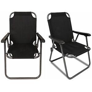 2 Black Outdoor Patio Folding Beach Chair Camping Chair
