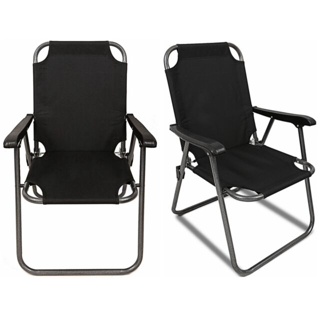 2 Black Outdoor Patio Folding Beach Chair Camping Chair Arm Lightweight  Portable