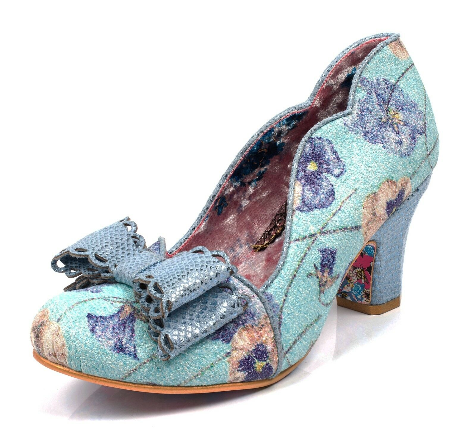 Descuento barato Irregular Choice NEW Deco Dreams blue floral bow mid heel court shoes sizes 3-9