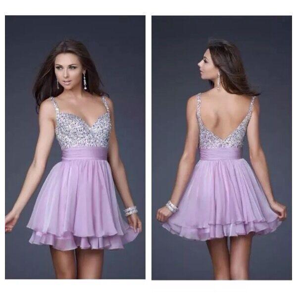 BNWT BNWT BNWT Ladies La Femme Lavender Purple Jewel Floaty Mini Dress - Size USA 6 95eb1e