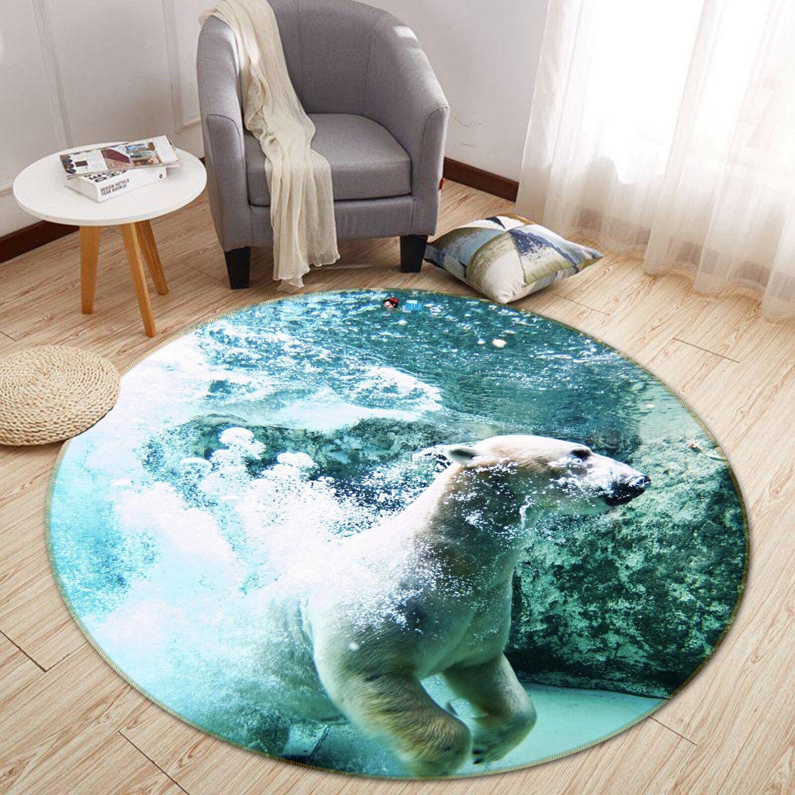 3D Orso Immersione 4 tappetino antiscivolo tappeto camera Tappetino Tondo Qualità Elegante foto Tappeto UK