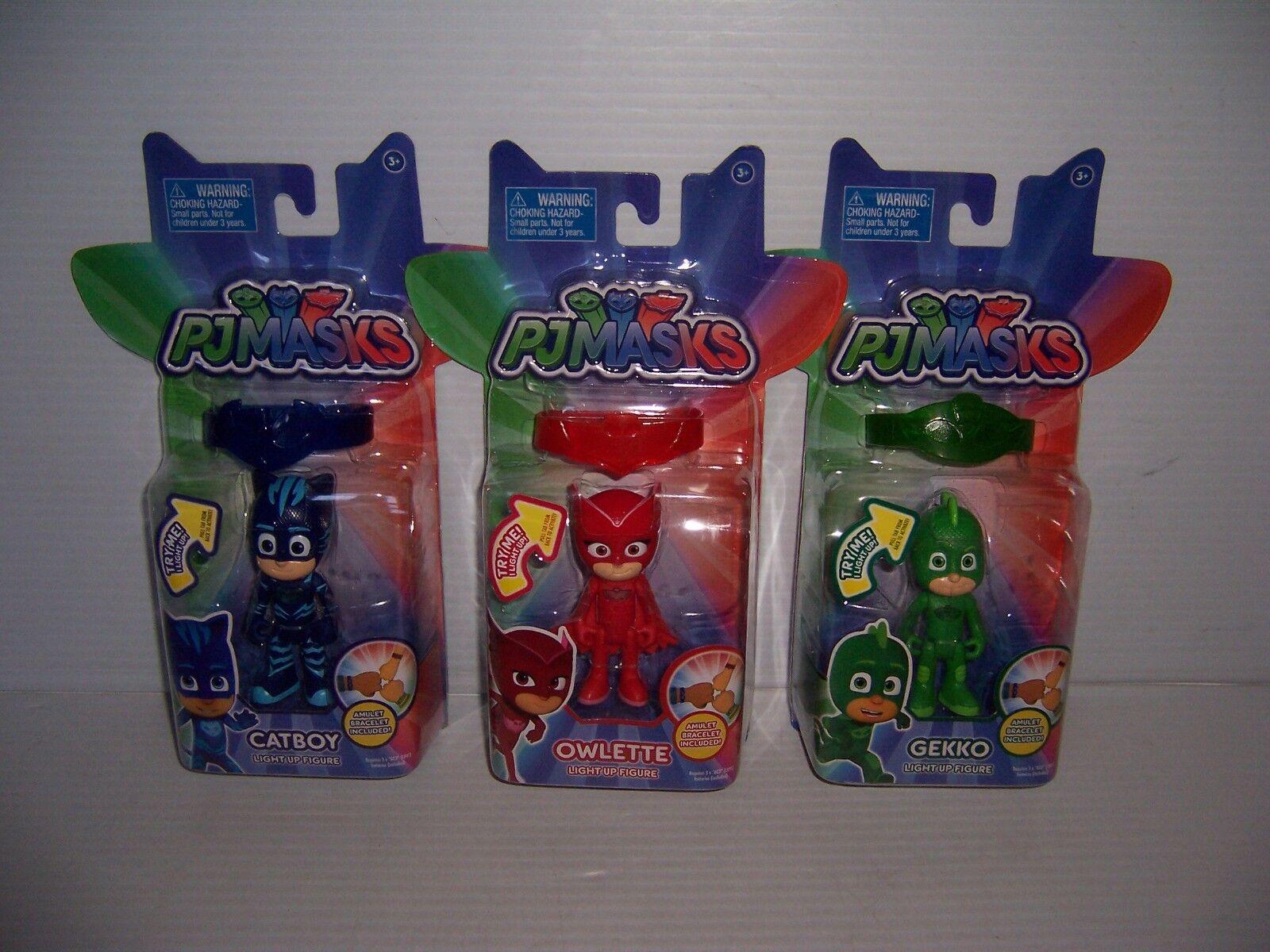 PJ Masks Set of 3 3 3 Catboy Owlette Gekko Light-Up Action Figure & Bracelet NEW  e90ba8