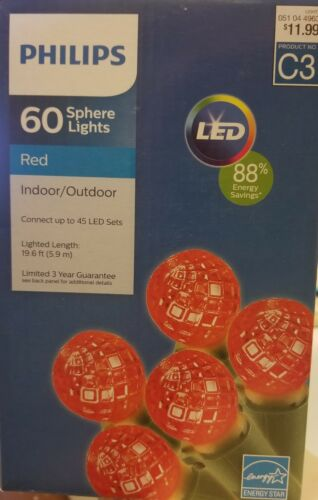 Philips 60 ct LED Faceted Sphere String Lights Red Christmas Valentine/'s NEW