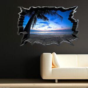 Bien Full Colour Carribean Sunset Beach Wall Art Autocollant Décalque Transfert Imprimé Graphique-afficher Le Titre D'origine