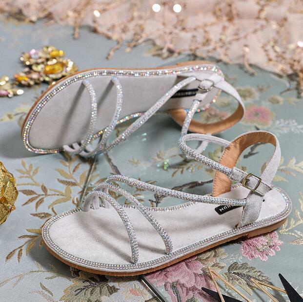 Vogue Para mujeres Estrás Hebilla de Taco Plano Charol Romanos Sandalia Zapatos Puntera Abierta