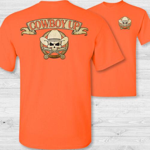 cowboy up cattle rancher spurs skull badge tee shirt Cowboy crossbones t-shirt