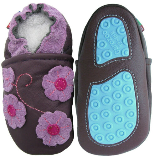 carozoo purple butterfly flowers outdoor rubber sole leather shoes up to 4 years