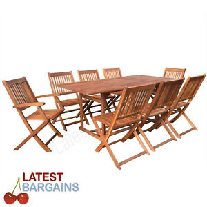 Image Is Loading 9 Piece Outdoor Dining Set Wooden Timber Garden