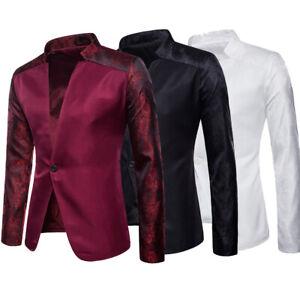 Men-039-s-Suit-Coat-Tops-Business-Blazer-Slim-Fit-One-Button-Casual-Jacket-US-STOCK