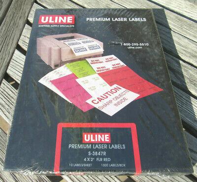 Uline Premium Laser Labels S-3847R - 4 X 2 Fluorescent Red 1000 Labels NEW    eBay