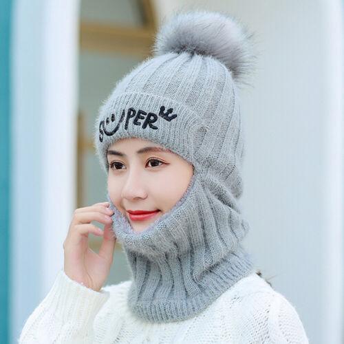 Lady Strickschal Mütze Set Winter Warm Solid Pom Soft Beanie Caps Schals