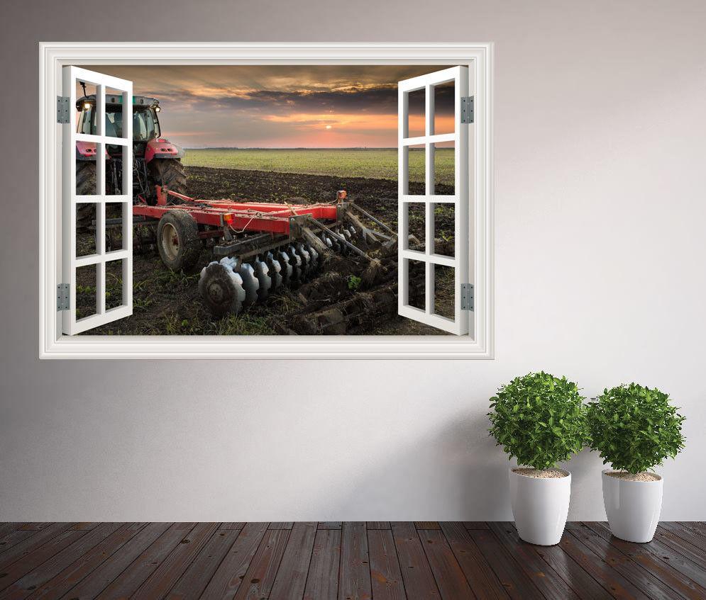 Cool Rouge Tracteur Labourage A Field D' Chambre D' Field  Fenêtre 3087c9