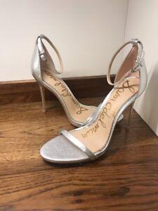 490ff9bab5b  110 Sam Edelman Ariella Strappy Heels Shiny Silver Women Size 10 M ...