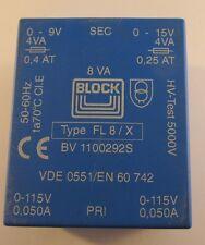 Fl8/x blocco Print-Trasformatore Piatto, PRI: 2x115v, sec: 1x9v - 1x15v (a27/3907)