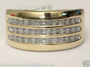 Image Is Loading 3 Rows 11mm Wide MENS DIAMONDS WEDDING BAND
