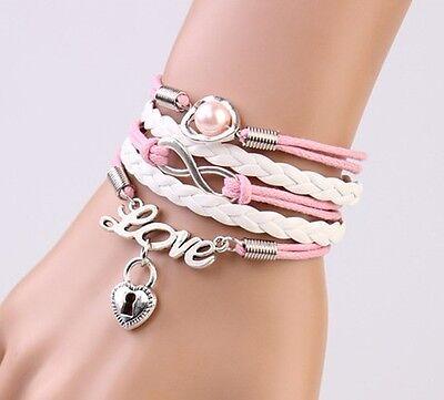 NEW Infinity Pearl Heart Lock Friendship Leather Charm Bracelet Silver Cute !!!!