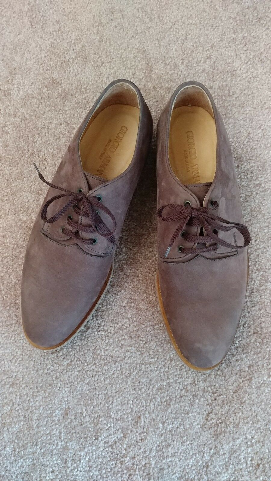 Rare Giorgio Armani Mens Marroneee Leather Nubuck Lace-up Oxford scarpe Dimensione 10.5M