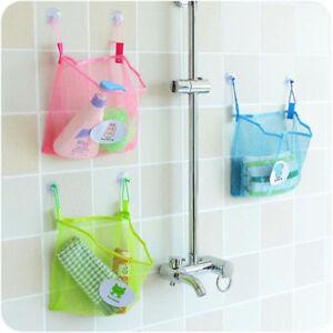 Bath Time Tidy Storage Toy Suction Cup Bag Mesh Bathroom Organiser Net J/&C