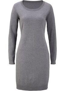 Strickkleid Gr. 44/46 Grau Meliert Damen Strick-Kleid ...