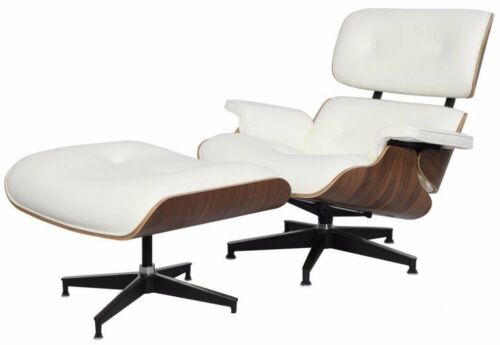 Eames Style Lounge Chair & Ottoman White Italian Leather Walnut
