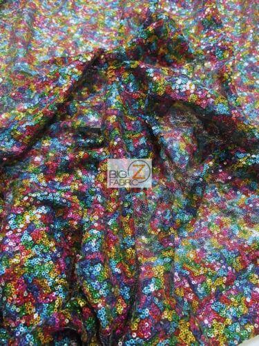 MINI DISC SEQUIN NYLON MESH FABRIC Shiny Rainbow BTY BACKDROP FREE SHIPPING