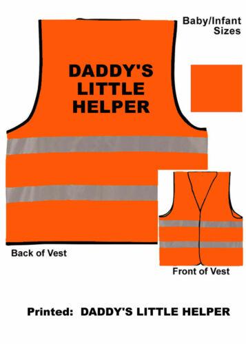 """Orange Hi Vis Viz Baby Vest /""""DADDY/'S LITTLE HELPER/"""" 0-24 Months in 3 Sizes"""