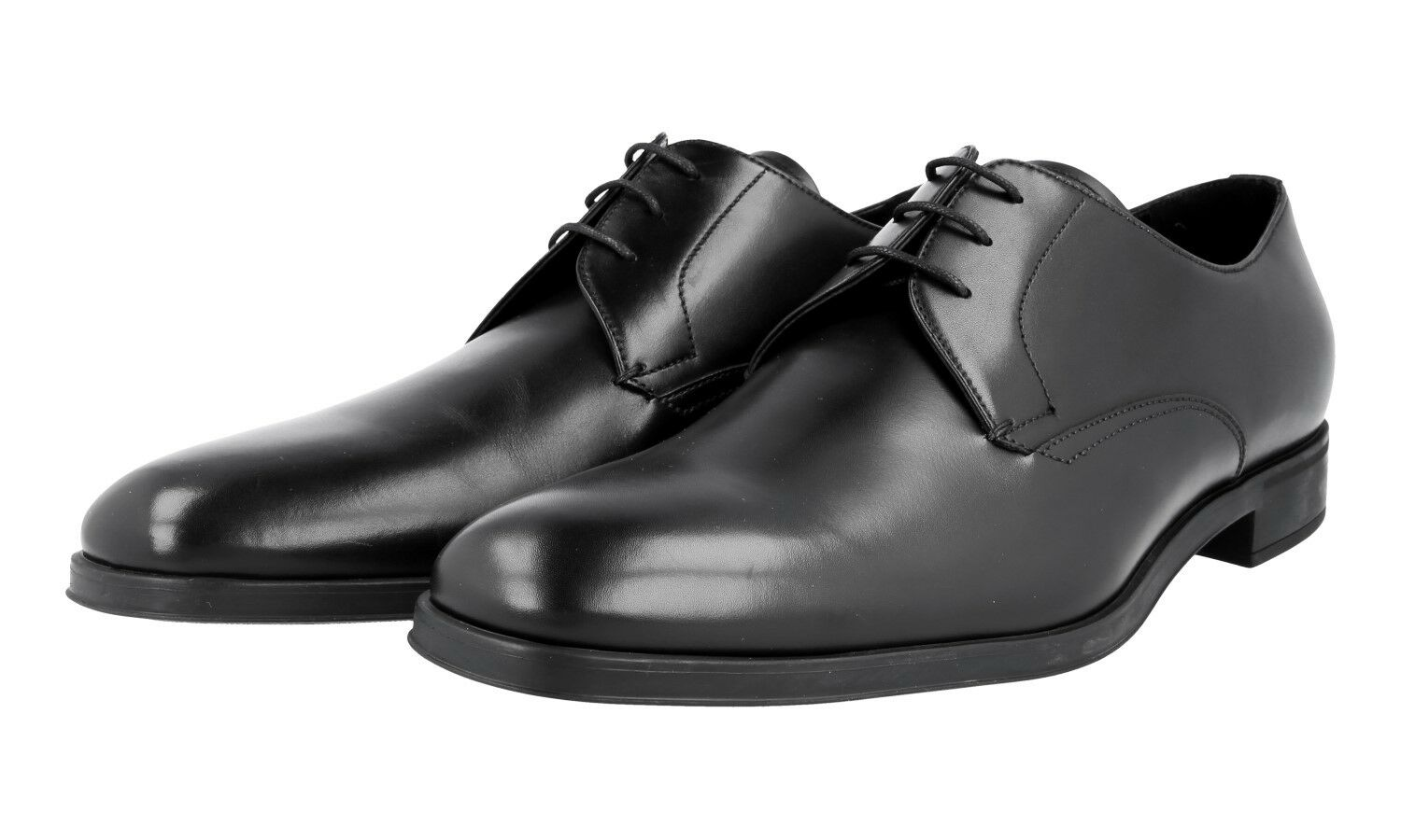 86a1639843a52 Luxe Derby Prada Plain Toe Derby Luxe Chaussures 2ec089 NOIR NEUF NEW 11 45  45,5 378ce8