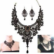 Black Lace Pendant Necklace & Earrings Set ~ Women Jewelry Gothic Fashion Choker