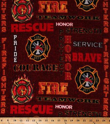 Fleece Firefighters Words Badges Fireman Fire Fighter Red