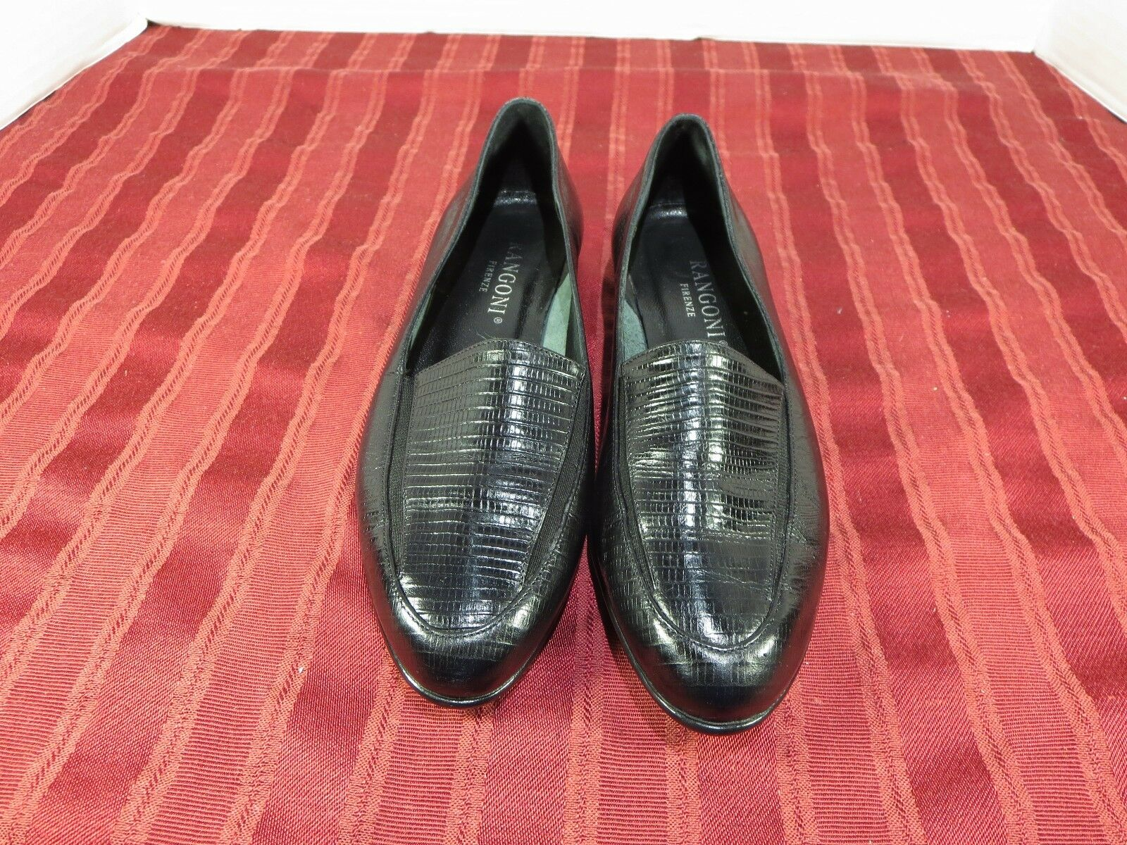 Rangoni Firenze Loafers Black Reptile Leather Fashion Casual Women Size 5.5B