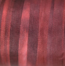 Silk Ribbon 100% Pure 4mm Red Embroidery Hand Dyed Bordeaux - 3 mtr