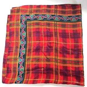 Liz-Claiborne-Scarf-Silk-Vintage-Plaid-31-034-BOLD-Jewel-Tone-Red-Purple-Paisley